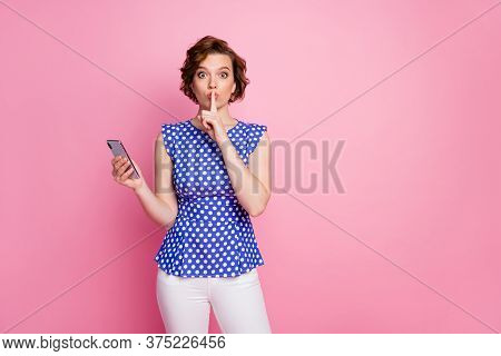 Portrait Of Her She Nice Attractive Lovely Creative Mysterious Brown-haired Girl Holding In Hands Ce