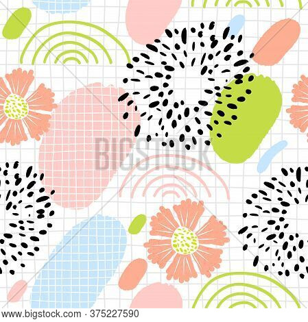 Creative Naive Collage. Abstract Seamless Pattern With Colorful Elements. Trendy Simple Geometric Sh