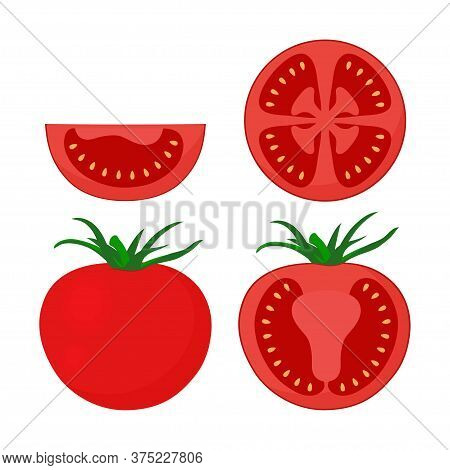 Set With Red Tomato Isolated On White Background, Whole, Half And Slice Of Tomato, Cherry Tomato, Ve