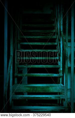 Mystical Horror Staircase To A Dark Basement, Attic In An Old Decrepit Scary Abandoned House With Pa