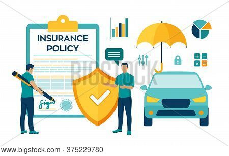 Car Insurance Concept. Car Protection And Safety Assurance. Vehicle Collision Insurance. Safety From