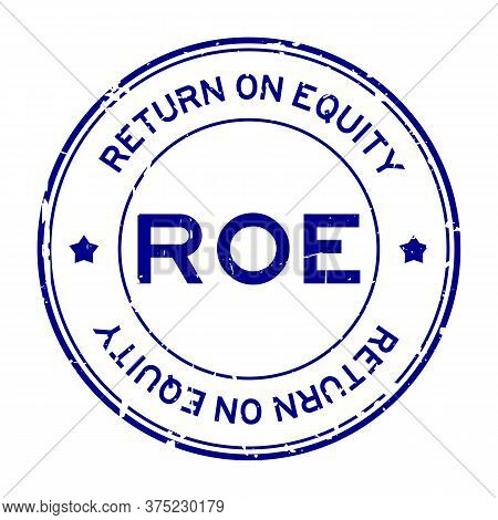 Grunge Blue Roe (abbbreviation Of Return On Equity) Word Round Rubber Seal Stamp On White Background