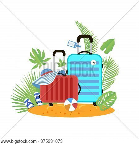 Suitcases On The Beach. Travel Bag With Hat On The Sunny Beach. Flipflop, Ball And Palm Leaves. Summ