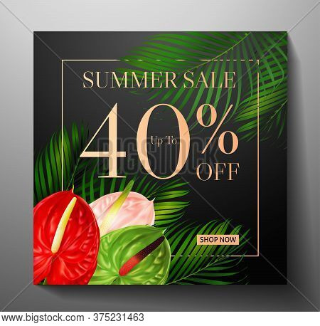 Discount Banner With Tropical Flower Bouquet - Anthurium Andraeanum And Green Palm Branch And Sale T