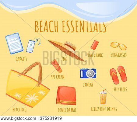 Beach Essentials Flat Color Vector Informational Infographic Template. Summer Vacation. Poster, Book