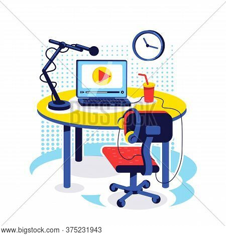 Streamer Setup Flat Concept Vector Illustration. Desk With Equipment To Broadcast Video. Content Cre