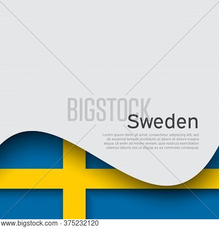 Sweden Flag On A White Background. National Poster Design. Business Booklet. State Swedish Patriotic