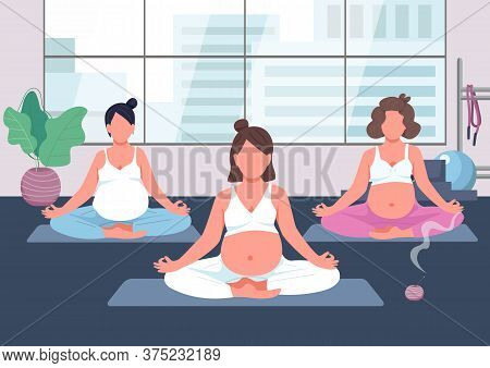 Pregnancy Yoga Group Flat Color Vector Illustration. Prenatal Exercise Class. Woman With Baby Belly