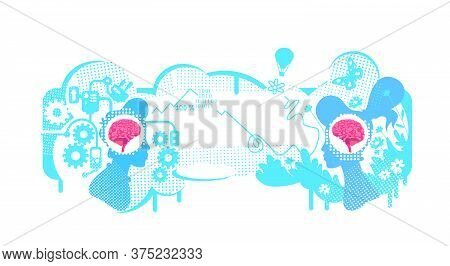 Creative And Technical Thinking Flat Concept Vector Illustration. Types Of Thinking Skills. 2d Carto