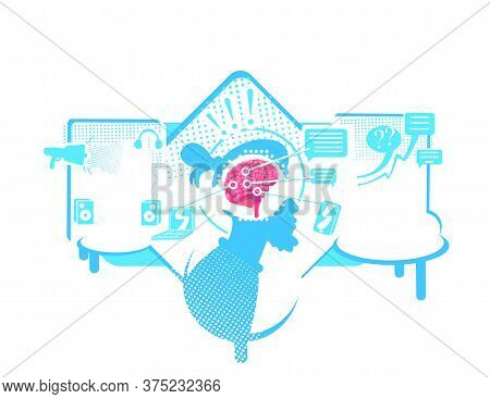 Distraction To External Stimuli Flat Concept Vector Illustration. Selective Attention. 2d Cartoon Ch