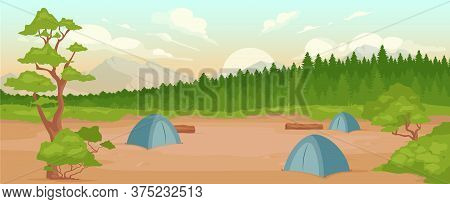 Camping Flat Color Vector Illustration. Recreation In Nature. Summertime Active Leisure. Hiking Adve