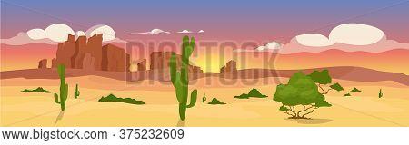 Western Dry Desert Flat Color Vector Illustration. Wasteland Travel Destination. Wilderness Scenery.