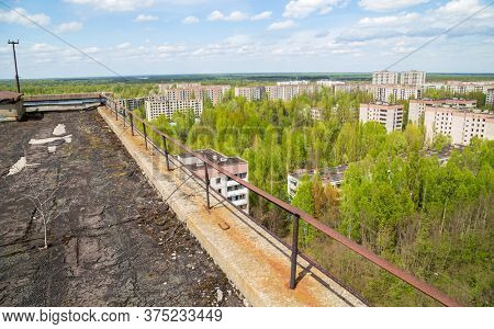 view on residential area of abandoned Pripyat city in Chernobyl Exclusion Zone, Ukraine