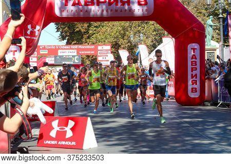 Odessa, Ukraine - Circa September, 2019: Marathon Runners On Start Of Half-marathon In Odessa. Conce