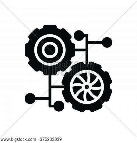 Black Solid Icon For Connection-process Connection Process Integrate Technology Cogwheel Analytics