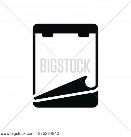 Black Solid Icon For Note Paper Notepaper Remember Concept Document Stationery Reminder