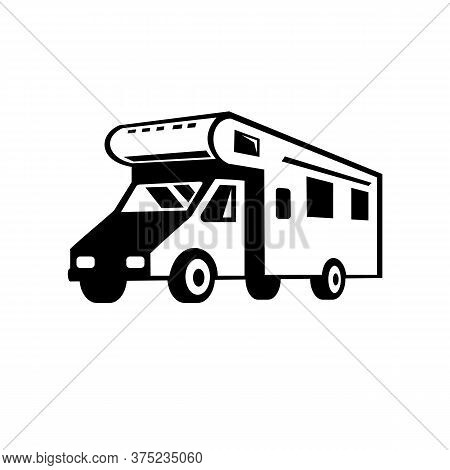 Black And White Retro Style Illustration Of A Campervan, Motorhome Or Caravan Car Viewed From Side O