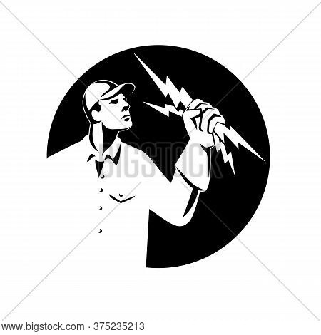 Illustration Of An Electrician Construction Worker Lineman Looking Up Holding A Lightning Bolt Throw