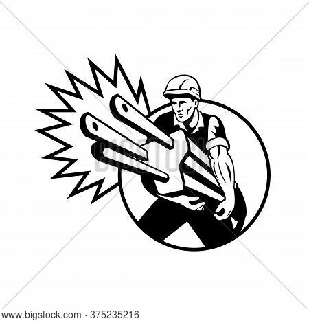 Black And White Illustration Of An Electrician, Power Lineman Or Construction Worker Carrying An Ele