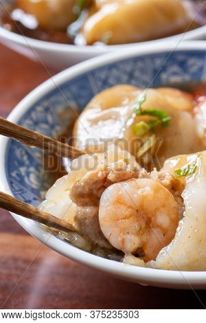 Bawan (ba Wan), Taiwanese Meatball Delicacy, Delicious Street Food, Steamed Starch Wrapped Round Sha