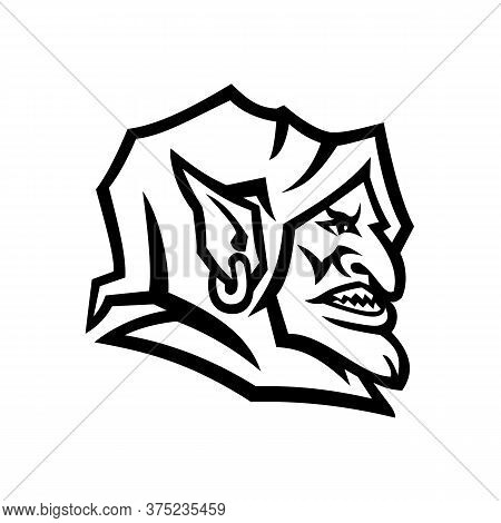 Black And White Mascot Illustration Of Head Of A Goblin, A Monstrous Creature From European Folklore