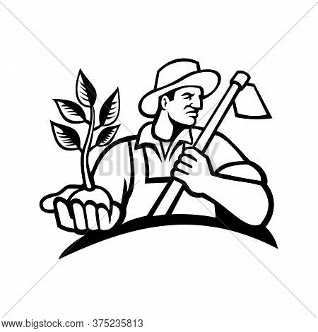 Black And White Illustration Of An Organic Farmer Wearing A Hat Holding A Plant By The Palm Of His H