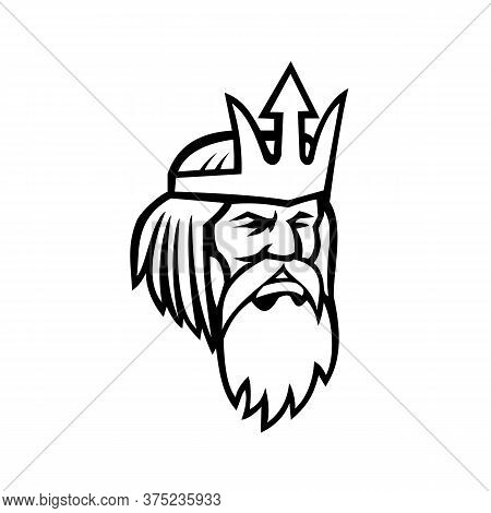 Black And White Mascot Illustration Of Of Head Of Poseidon Or Neptune, God Of The Sea In Greek And R