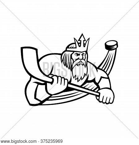 Black And White Mascot Illustration Of Poseidon Or Neptune, God Of The Sea In Greek And Roman Mythol