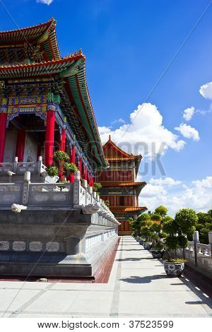 Chinese Buddhist religion temple in Bangkok Thailand poster