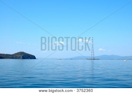Bright Blue Sea Scenery.