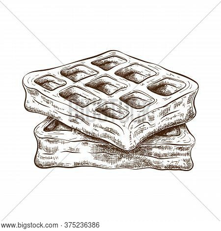 Hand Drawn Cute Waffle Isolated On White. Vector Sketch Of Stack Of Belgium Wafers In Vintage Engrav