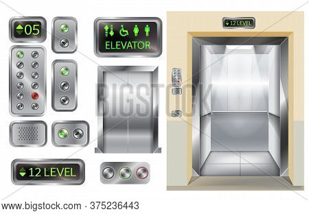 Elevator Cabin With Open And Closed Doors Inside View, Isolated 3d Vector Illustration. Realistic Em