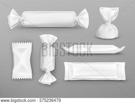Realistic White Blank Package For Chocolate, Candies, Lollipops And Pouch Sweets Production. 3d Vect