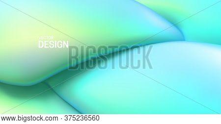 Soft Mint Green Backdrop. Abstract Liquid Background. Vector 3d Illustration. Fluid Dynamic Texture.