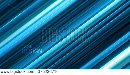 Blue Layered Surface. Abstract Geometric Background. Vector Illustration. Random Layers Pattern. Str