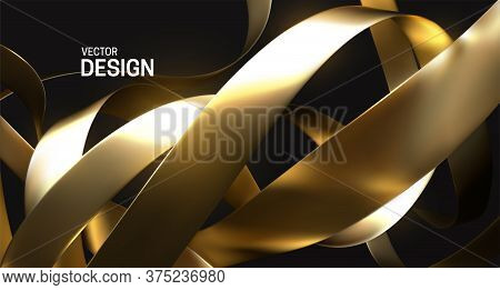 Chaotic Golden Ribbons. Vector 3d Illustration. Abstract Background. Festive Decoration With Gold Fo