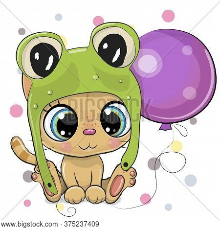 Greeting Card Cute Cartoon Orange Kitten In A Frog Hat With Balloon