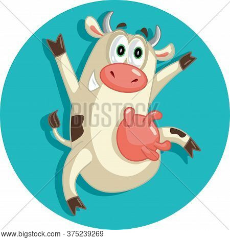 Happy Cheerful Cow Jumping For Joy Vector Character