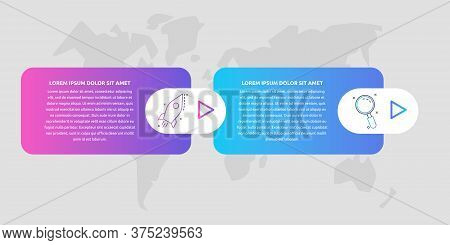 Timeline Creative Design 3D Infographics Template. Business Vector Illustration With 2 Options, Arro