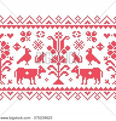 Cross Stitch Vector Seamless Folk Art Pattern - Repetitive Background Inspired By German And Austria