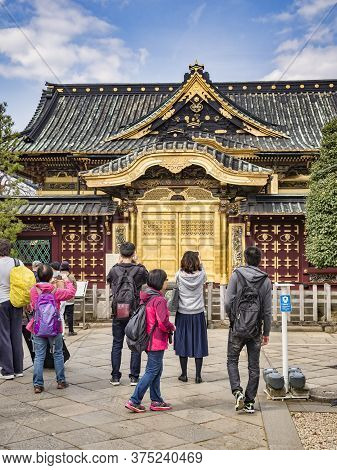 22 March 2019: Tokyo, Japan - Visitors At The Ueno Toshogu Shinto Shrine In Ueno Onshi Park, Tokyo,