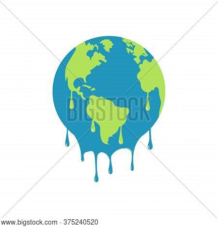 Illustration Of Melting Earth Showing Global Warming. Isolated.