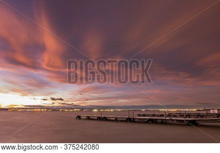 Sunset In Albufera, Valencia, Long Exposure Shot