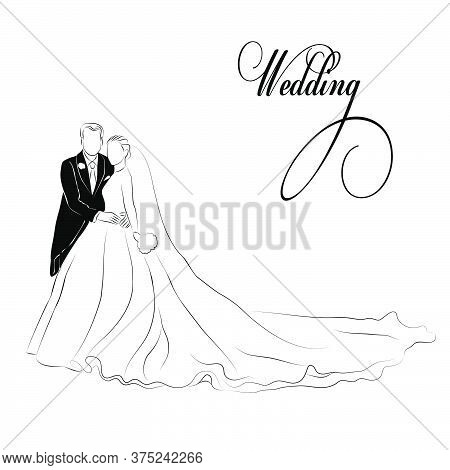 Vector Illustration Of A Bride And Groom Standing. Image Of A Bride In A Long Dress. A Linear Sketch