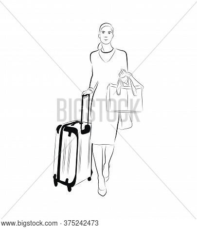 Vector Linear Illustration Of A Walking Woman With A Suitcase. Sketch Of A Woman With A Suitcase And
