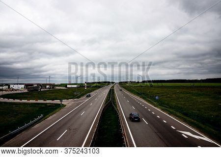 Freeway, Expressway With Moving Cars. Logistics Concept.