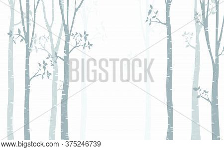 51.1-birch Tree With Deer And Birds Silhouette Background