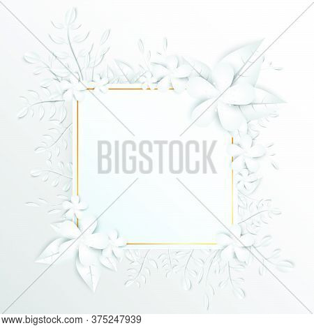 24-speech  Frame With White Cut Out Paper Flowers