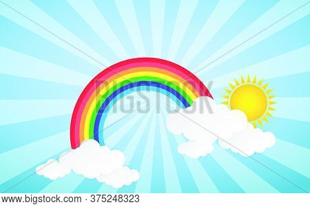 05-cloud And Rainbow In The Blue Sky With Paper Art Style The Concept Is Summer Season