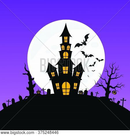 03-haunted House And Full Moon With Ghost,horror Night Background.vector Illustration.